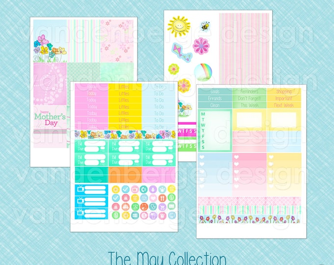 The May Collection Weekly Planner Sticker Kit for Erin Condren Life Planner or The MAMBI Happy Planner