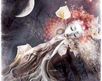 Beauty Sleep - Canvas Art Print - 35x31cm Abstract Visionary Spiritual Digital Illustration imagination fantasy surrealism dreaming