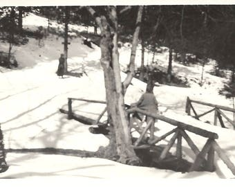 "Vintage Snapshot ""Pushing The Sled Back Up The Hill"" Lone Figure Waiting In The Snow Shadow & Light Composition Found Vernacular Photo"