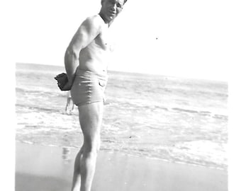 "Vintage Snapshot ""That's The Ocean Out There"" Muscular Man Squints Into Camera Swim Trunks Found Vernacular Photo"