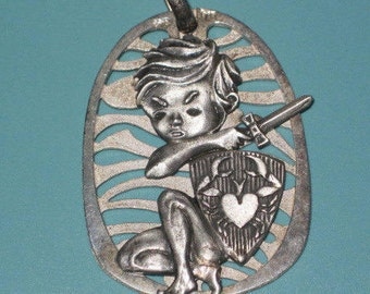 """Vintage Sterling Silver Sword and Shield Heart CRAB Cancer Zodiac 1 5/8"""" Pendant 9.3g"""