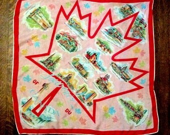 vintage 1970s Souvenir Silk Scarf Canada Pink and Red large hand rolled 27 inch square headscarf Travel Scarf