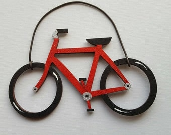 Bicycle Ornament--Red Metal Flake/Party Favor/Gift Tag -- OV20