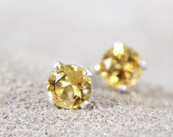 Citrine Stud Earrings - Citrine Earrings - Sterling Silver Studs - Dainty Stud Earrings - November Birthstone - Citrine Studs