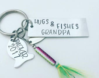 Hugs and Fishes Grandpa Keychain - Fathers Day Fishing Lure - Personalized Hand Stamped Key Chain - Men's Gift - Dad Fishing - Dad Gift