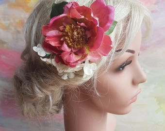 Large peony hairclip in pink with white hydrangeas. Floral boho haircomb. Romantic flowergirl bridesmaid raceday teaparty