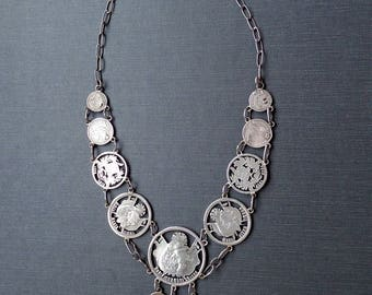 Antique Victorian Necklace. Cut Silver Coins. 1867 - 1900 Guatemala. Edwardian .