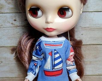"Ahoy sailor ""boat"" sweatshirt for Blythe doll"