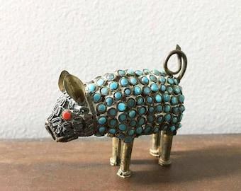 Vintage Tibetan Ugly Miniature Pig / Turquoise Glass Inlay Mosaic Pig