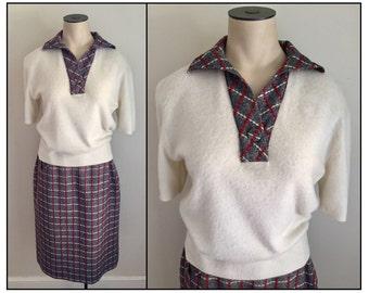 Vintage 1950s Misses' Glenora Casuals Cream Sweater Navy Red White Plaid Wool Skirt Set 2 4