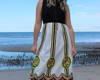 Gorgeous 1960's Black and White long dress with hand embellished yellow and pink ribbon and flowers