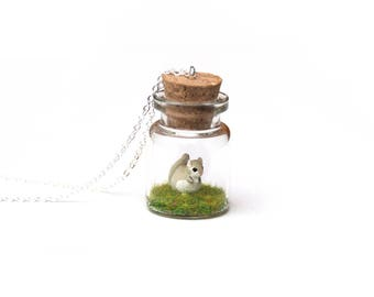 Ezo Momonga Necklace - miniature Japanese flying squirrel, terrarium necklace, Asia collection, tiny glass bottle, wildlife gift