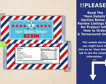 Hockey Chocolate Bar Wrappers - Hockey Candy Bar Wrapper - Sports Candy Bar Wrapper - Digital or Printed Wrappers Available