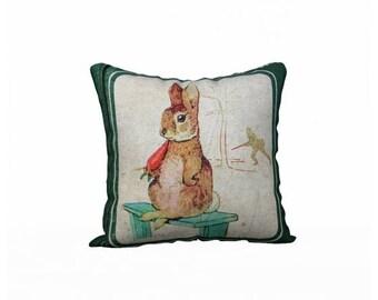 Peter Rabbit Pillow Cover, Velveteen Pillow Cover, Nursery Pillow, Beatrix Potter Peter Rabbit, Forest Animals Pillow, Baby Shower Gift