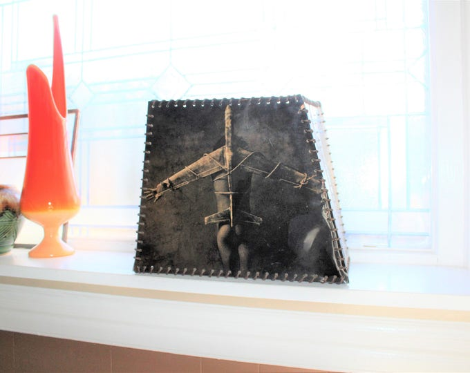"Artist Made Lamp Shade 10"" Hispanic Nude Crucifixion on Bomber Plane"
