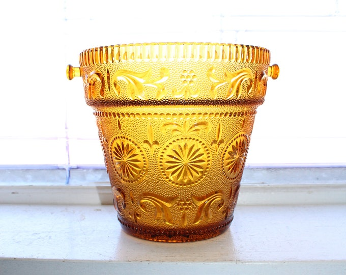 Vintage Concord Brockway Ice Bucket Planter Amber Daisy Sandwich Glass