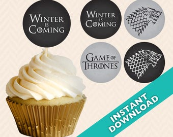 "1.5"" DIY House Stark Cupcake Toppers, Instant Download, Winter is coming, Game of Thrones"