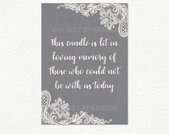 """Candle is lit sign, In loving memory of sign, Sadly can not be here, Grey Cream Lace & Linen, Sign 5x7"""" Printable - Instant download"""