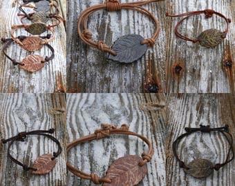 leaf bracelet, adjustable wristlet, ceramic jewelry, leather wristlet, leaf jewelry, rustic jewelry, boho jewelry, woodland bracelet, rustic