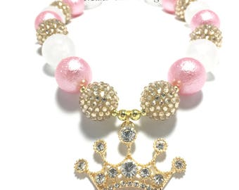 Toddler or Girls Pink and Gold Crown Chunky Necklace - Princess Chunky Necklace - Pink and Gold Birthday Necklace - Princess Gold Crown