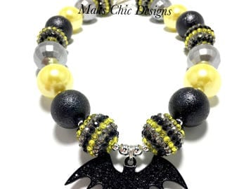 Toddler or Girls Bat Rhinestone Chunky Necklace - Yellow, Black and Silver Chunky Necklace - Super Hero Necklace - Bat Halloween Necklace