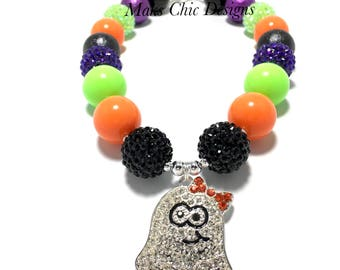 Toddler or Girls Halloween Ghost Rhinestone Chunky Necklace - Purple, Green, Orange and Black Chunky Necklace - Cute Ghost Necklace - Boo