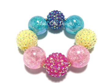 Toddler or Girls Rainbow Chunky bracelet - Pink, Yellow, Turquoise and Purple Bracelet - Unicorn Rainbow Chunky Bracelet - Pink Rainbow