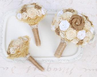 Rustic Romance Wedding Bouquet Collection // Bridal Bouquet, Wedding Flowers, Burlap Bouquets, Sola Wood Bouquets, Forever Bouquets, Set
