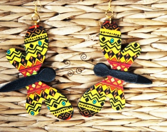 Jumbo Dragonfly Fabric Covered Wood Earrings