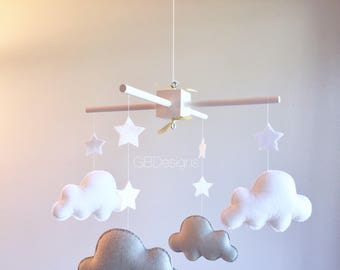 Baby mobile - cloud mobile - moon clouds mobile - baby crib mobile - white and gray mobile