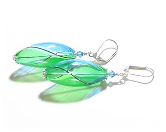 Murano Blown Glass Aqua Green Long Oval Earrings, Sterling Leverbacks, Argyle, Venetian Jewelry, Italian Jewelry, Hollow Glass Earrings