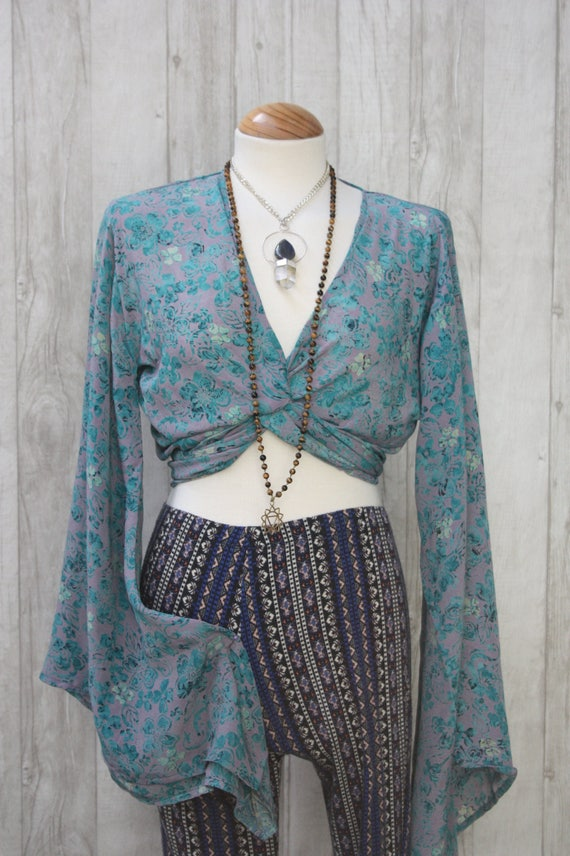 FLORAL CROP TOP - Bell sleeve crop top- Silk Tie Top- Vintage- Festival Top- Hippie- Retro- 70s- Crop Top- 100% Silk- Couture