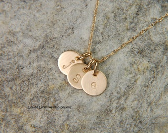 Gold Mommy Necklace 6 mm 14K Gold Disc Necklace Solid Gold Necklace Personalized Gold Necklace Baby Initial Necklace