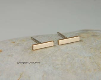 14K Gold Bar Earrings Minimalist Earrings Solid Gold Studs Gold Stud Earrings 14K Line Earrings 14K Gold Jewelry