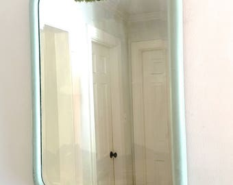 Vintage Beveled Mirror Mint Green Wood Frame Cottage Farmhouse