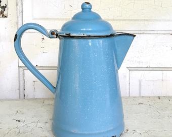 Vintage Enamel Blue Coffee Pot Farmhouse Kitchen