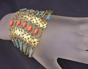 Vintage Faience Beads Bracelet, Egyptian Revival Faience Bead Bracelet, Art Deco Bracelet