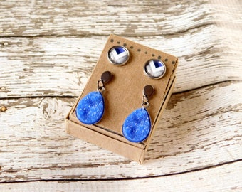 Blue Earring Set - Stud Drop Druzy Hypoallergenic