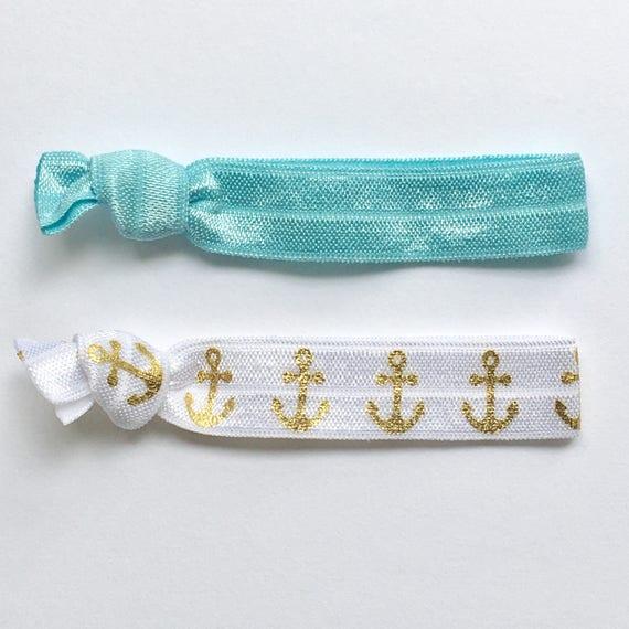 hair tie bracelets, nautical jewelry, beach bracelets, party favour, anchor bracelet, friendship bracelets, girl gift
