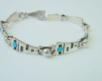 Vintage Mexico Turquoise Sterling Modernist Bracelet / 925 / 19 Grams / Artisan Jewelry / Jewellery