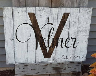 Rustic Stained Pallet Established sign
