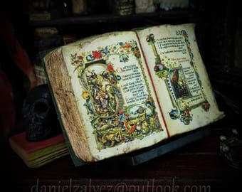 KING ARTHUR medieval illuminated manuscript codex. Open book miniature for dollhouses 1:12 and rarities collectors