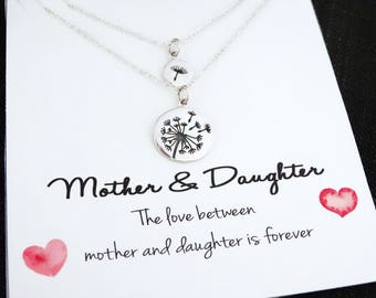 Mother Daughter Necklace Set Dandelion Necklace Mother's Day gift Silver Necklace Mother daughter jewelry mother daughter gift