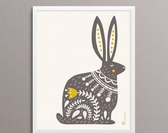 "RABBIT Folk Art Print - 8x10"" - Limited Edition"