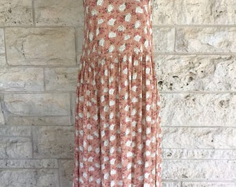 90's Floral Dress Express Maxi Dress Babydoll Dusty Rose Floral Sun Dress Small Size 6 Romantic Dress Rose Rayon Storybook Romance Maxi