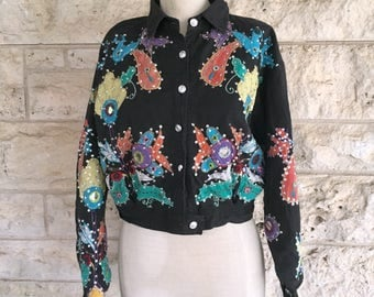 90's Jacket Ethnic Boho Mirror Jacket Vintage Cropped Top Embroidered Glitter Bomber Jacket Princess Cropped Jacket Mexican Frida Top