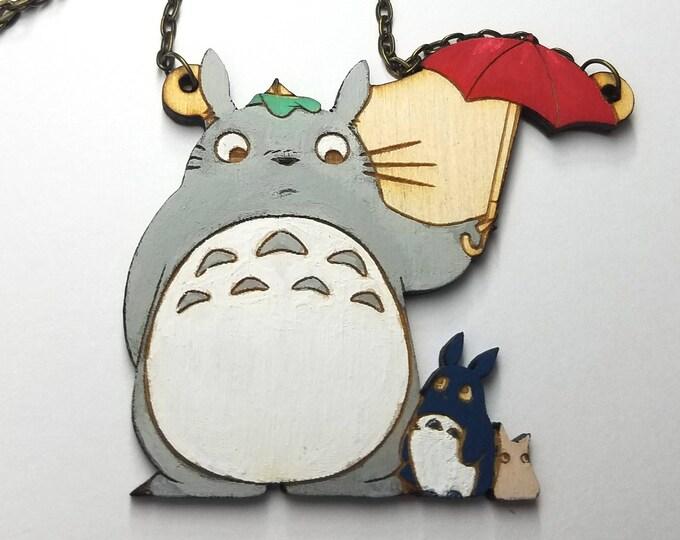 My Neighbor Totoro Necklace | Wood Jewelry | Handmade Necklace