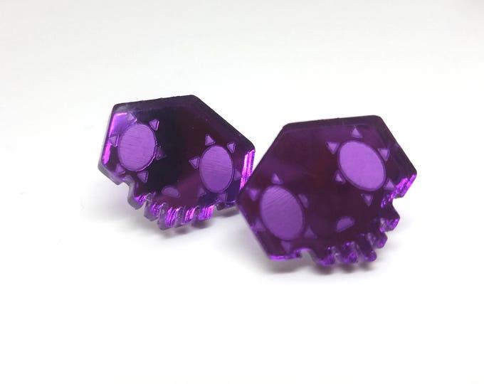 Overwatch Sombra Earrings | Laser Cut Jewelry | Hypoallergenic Studs | Overwatch Jewelry | Mirrored Acrylic Earrings