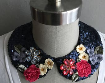 Floral Embroidered Peter Pan Collar Necklace with Luxe Crystal Embellishment