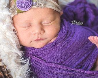 Newborn Tieback, Newborn Photo Prop, Baby Tieback, Purple Beige Tieback, Baby Headband